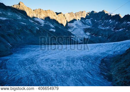 Fantastic View Of The Great Rhone Glacier And The Mountains In The Canton Of Valais. Eternal Ice