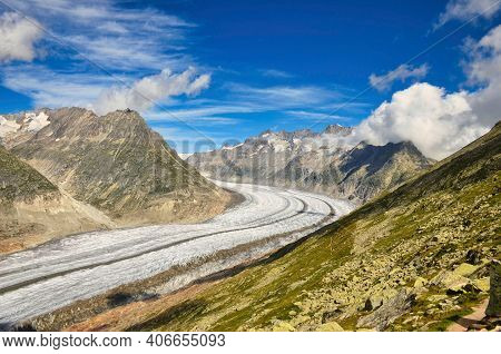 Largest And Longest Glacier In Euopra, Valais Switzerland. Fantastic View And Panorama. Aletsch Aren