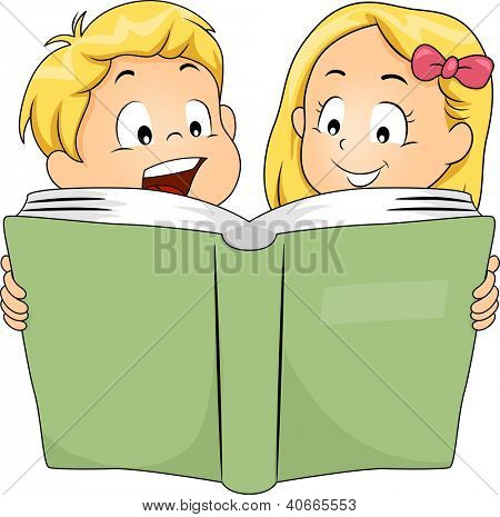 Illustration of Siblings Reading a Book Together,