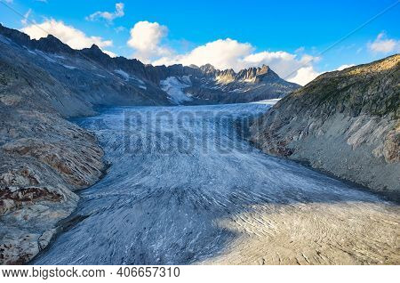 Great Rhone Glacier And The Mountains In The Canton Of Valais. Eternal Ice Near The Furka Pass, Swit