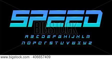 Speed Alphabet. Geometric Cropped Font, Dynamic Type For Modern Sport And Futuristic Logo, Headline,