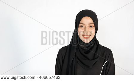 Asian Muslim Woman Wearing Hijab Religious Cloth.