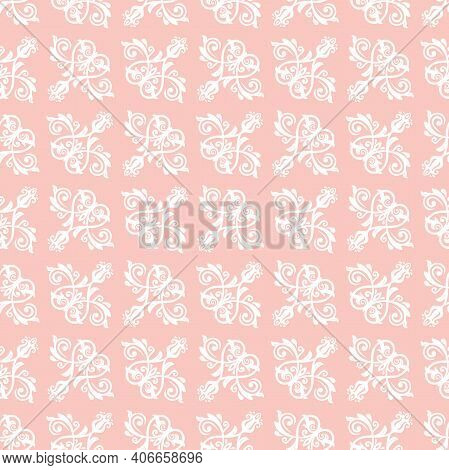 Classic Seamless Pattern. Damask Orient Pink And White Ornament. Classic Vintage Background. Orient
