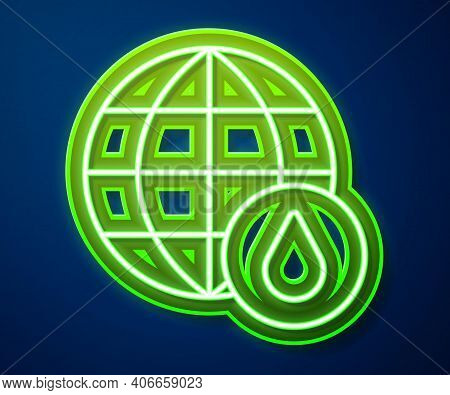 Glowing Neon Line Earth Planet In Water Drop Icon Isolated On Blue Background. World Globe. Saving W