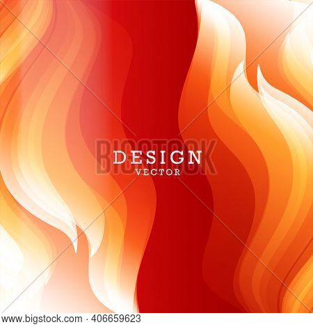 Abstract Background For Design With Bright Graphic Element Of Fire Flames On Both Sides Of The Compo