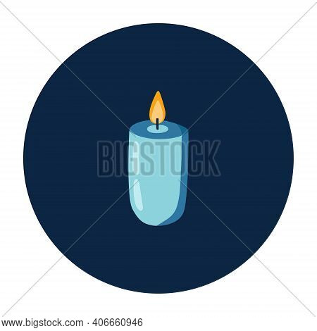 Single Candle With Candlelight On Dark Background. Aromatic Candle In Simple Hand Drawn Style For Sp