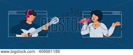 Girl Singer And Guy Guitarist Make A Video Call. Online Concert. The Duo Plays Guitar And Sings. Str