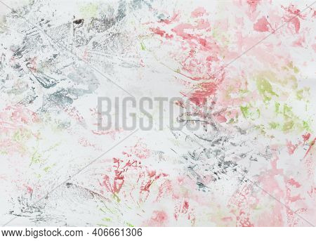 Watercolor Painting Foil Printing, Background In Dark Blue, Red And Green