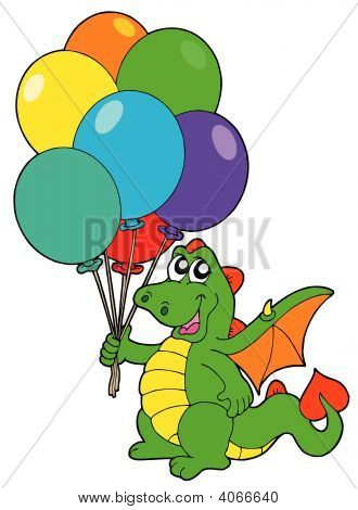 Cute dragons with colorful balloons - vector illustration. poster