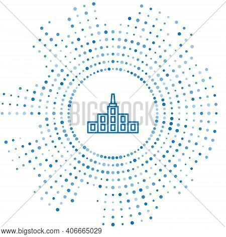 Blue Line City Landscape Icon Isolated On White Background. Metropolis Architecture Panoramic Landsc