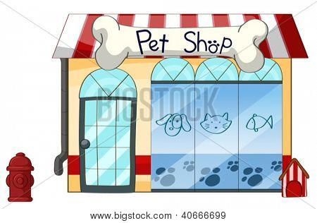 Illustration of a petshop on a white background