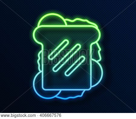 Glowing Neon Line Sandwich Icon Isolated On Blue Background. Hamburger Icon. Burger Food Symbol. Che