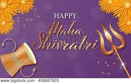 Happy Mahashivratri Shivling With Trishul, Damru And Flowers. Vector Illustration.