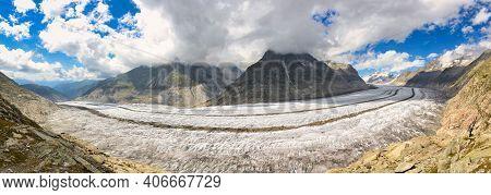 Aletsch Glacier. Largest And Longest Glacier In Euopra, Valais Switzerland. View Of The Jungfrau. Al