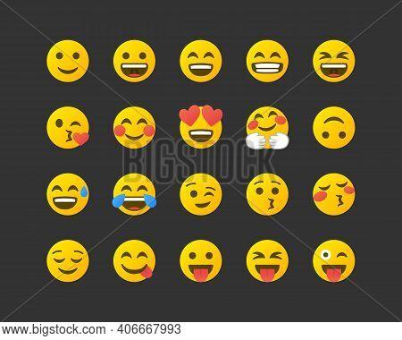 Set Of Emoticons. Set Of Positive Emoji. Smile Icons Isolated On White Background. Vector Illustrati