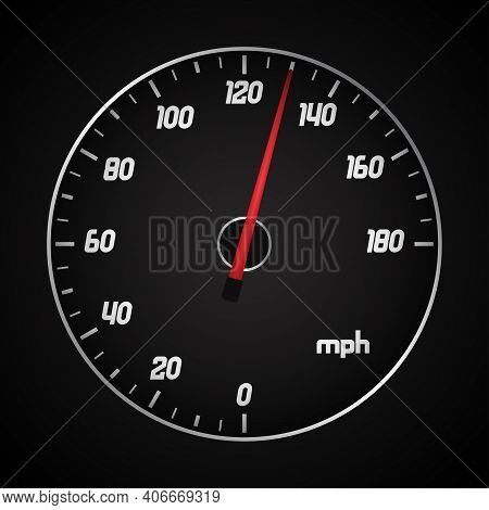 Car Speedometer In Miles With Red Arrow. Vector Illustration