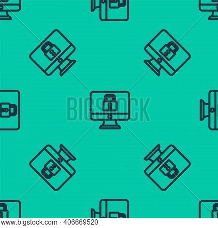 Blue Line Lock On Computer Monitor Screen Icon Isolated Seamless Pattern On Green Background. Securi