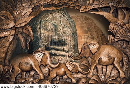 The Collage Of Images Of Angkor Wat In Cambodia. Angkor Wat - Is The Largest Hindu Temple Complex An