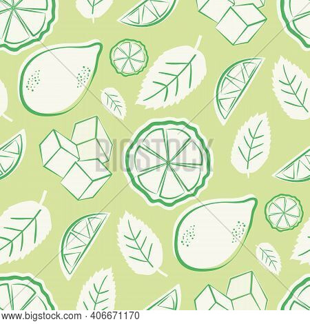 Citrus Fruit, Mint Leaves, Ice Cubes Vector Seamless Pattern Background. Retro Green White Backdrop