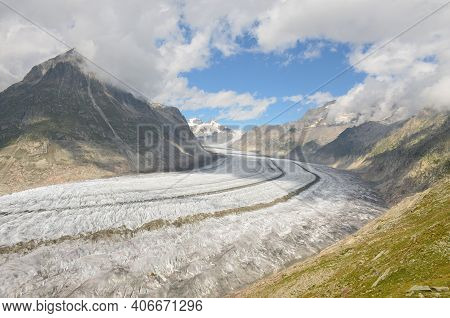 Aletsch Glacier. Largest And Longest Glacier In Euopra, Valais Switzerland. Panoramic View Of The Ju