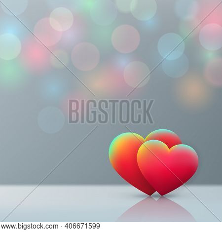 Valentines Day Card, Red Hearts On Pastel Background With Multicolored Bokeh. Happy Valentine Day Ba
