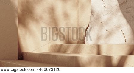 Minimal Beige Abstract Background With Stone Steps Podium For Product And Cosmetic Presentation. Nat