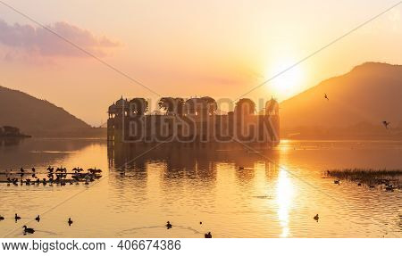 Jal Mahal Palace At Sunrise, India, Jaipur, The Man Sagar Lake