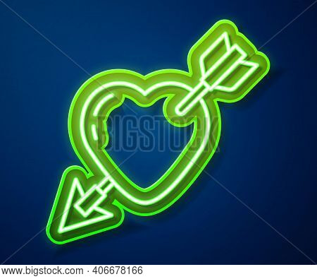 Glowing Neon Line Amour Symbol With Heart And Arrow Icon Isolated On Blue Background. Love Sign. Val