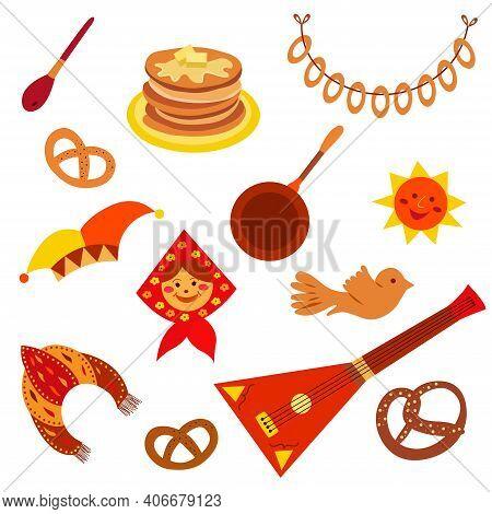 Maslenitsa Set. Shrovetide Collection. Maslenitsa Elements - Pancake, Balalaika, Sun, Kokoshnik. Pan