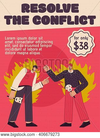 Vector Poster Of Resolve The Conflict Concept
