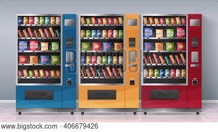 Realistic Poster With Three Multicolored Vending Machines Full Of Beverages And Snacks Vector Illust