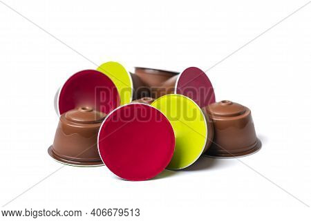 Set Of Coffee Capsules, Roasted Beans Isolated On White Background Top View Flat Lay Drink Obtained