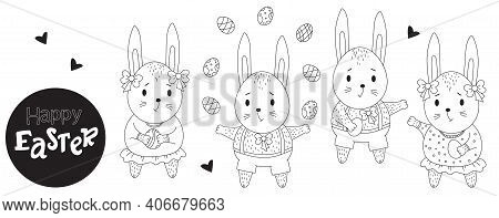 Easter Bunny Set. Cute Bunnies Girls And Boys With Easter Eggs In Their Paws. Vector. Black Line, Ou