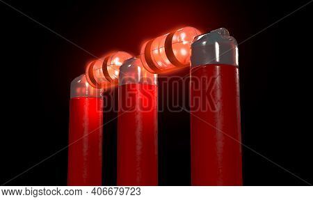 Red Electronic Cricket Wickets With Bails And Illuminating Led Lights On A Night Sky Background - 3d