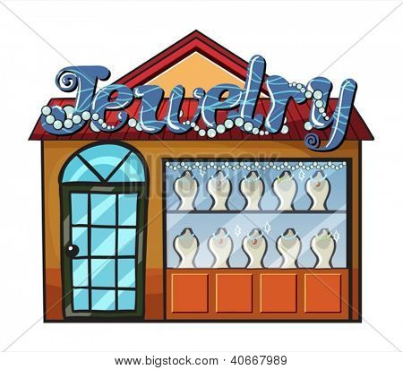 Illustration of a jewelry shop on a white background