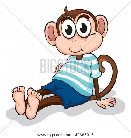 Illustration of a monkey on a white background