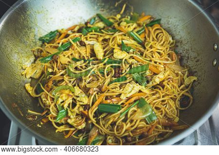 Colorful Nepali Style Chowmein Noodles On A Frying Pan, Ready To Serve Fresh Chow Mein Cooked In Nep