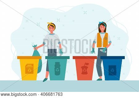 Funny People Putting Garbage In Trash Cans. Sorting Garbage Into Dumpsters Or Barrels. A Set Of Happ