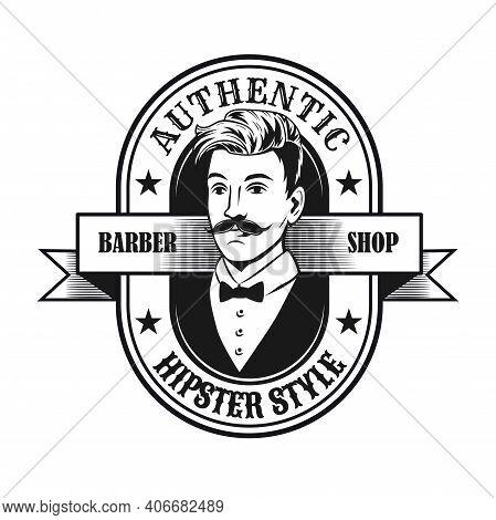 Black Hipster Style Label Vector Illustration. Monochrome Emblem With Stylish Man In Elegant Suit On