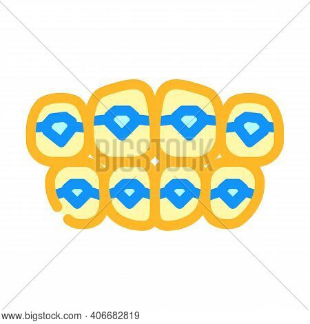 Onlays On Teeth Color Icon Vector Illustration