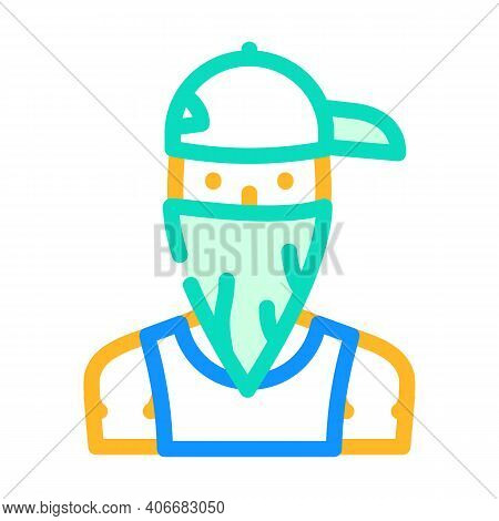 Gangsta Rapper Color Icon Vector Illustration Flat