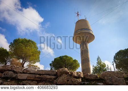 Gush Etzion, Israel. 22-12-2020. A Tall Water Tower That Also Serves As A Lookout Point
