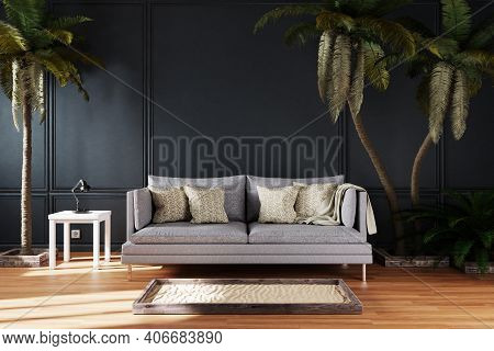 Canceled Vacation And Stay At Home Concept; Elegant Living Room Interior Single Vintage Sofa Between