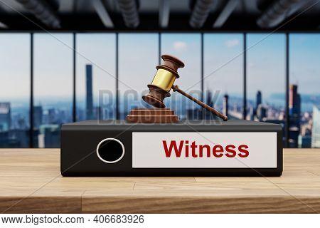 Judge Gavel Standing On Black Office Binder File Folder On Wooden Desk In Large Modern Office Buildi