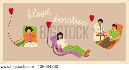 Blood Donor Concept. Men And Women Donate Blood Voluntarily. A Nurse Or Doctor In A Medical Uniform