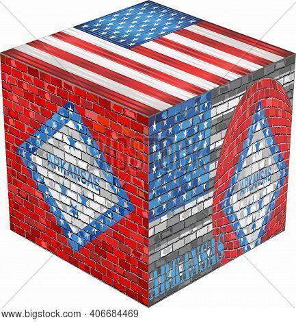 Arkansas Cube - Illustration,  Abstract Grunge Mosaic Flag Of Arkansas