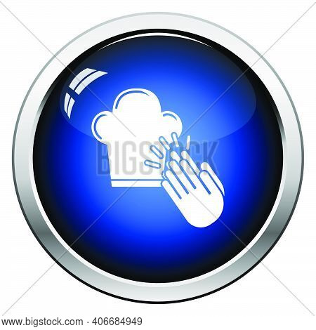 Clapping Palms To Toque Icon. Glossy Button Design. Vector Illustration.