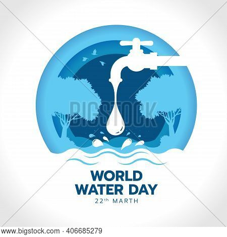 World Water Day With Drop Water Falling From The Tap To River In Circle Blue Layer Style Vector Desi