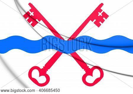 3d Flag Of Leiderdorp (south Holland), Netherlands. 3d Illustration.