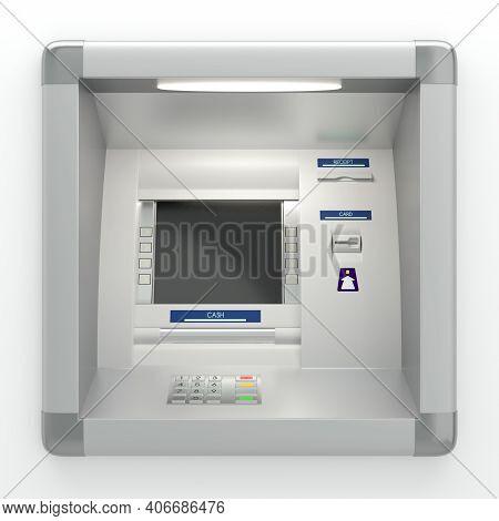 Atm Machine On Grey Wall 3D Illustration